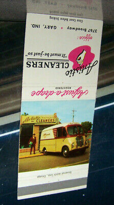 Vintage Matchbook Cover A1 Gary Indiana Artistic Cleaners Classic Van Auto Drape