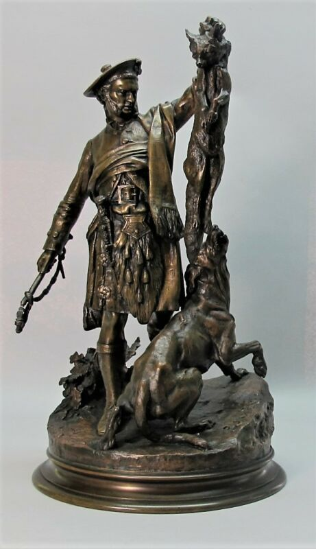 Rarest Mid-19th C. Pierre Jules Mene Bronze Sculpture  Scottish Hunter  C. 1860s
