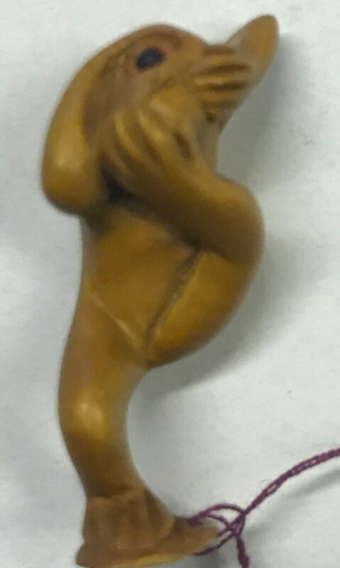 Small Single Hear, See Speak No Evil Carved Wood MONKEY - Unique Carving (698-2)