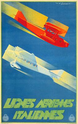 Lignes Aeriennes 1933 Vintage Italian Aviation Poster Giclee Canvas Print 20X32