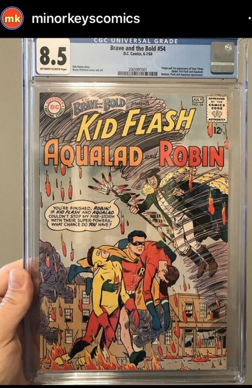 BRAVE AND THE BOLD #54 CGC 8.5 1ST APP & ORIGIN TEEN TITANS! TV SHOW MOVIE