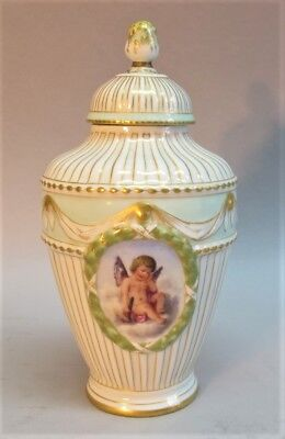 Fine SIGNED KPM Miniature Hand-Painted Porcelain Urn w/ Lid  c. 1900  antique