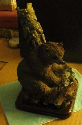 Signed Cast Northcoast Grizzly Bear With Totem Pole on Wood Base
