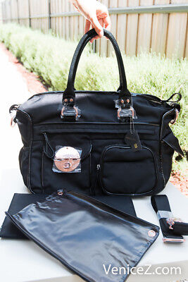 BNWT MIMCO Lucid Turnlock Baby Bag Dipper Nappy Shoulder Satchel Black Rosegold