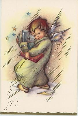 VINTAGE WINTER GIRL ANGEL WINDY WINGS STARS SNOW CHRISTMAS BLANK CARD ART PRINT - Windy Wings