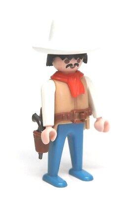 Playmobil Figure Western Cowboy w/ Tall White Hat Mustache Red Scarf Gun Holster - Gunslinger Mustache