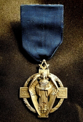 Masonic Hallstone Million Jewel Solid Silver + Ribbon By Birmingham Medal Co