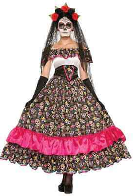 Spanish Lady Halloween Costume (Spanish Lady Day of the Dead Dia Muertos Fancy Dress Up Halloween Adult)