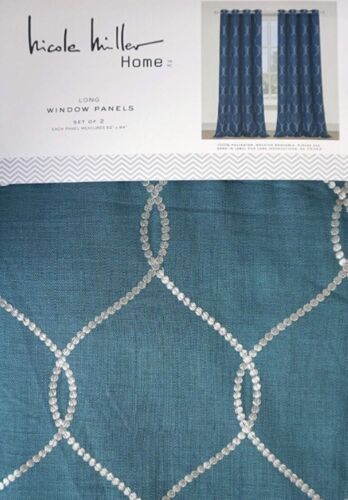 Nicole Miller Silver & Aqua Curtains/Draperies Window Panels