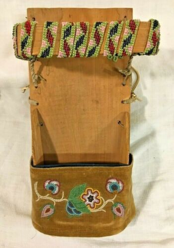 Antique Ojibway Indian Beadwork & Wood Doll