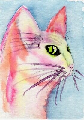 Watercolor ACEO painting by Mary King, original artwork, Pink cat kitten cute Painted Original Artwork