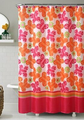 Orange and Pink Printed Fabric Shower Curtain : Butterfly and Flowers, 72