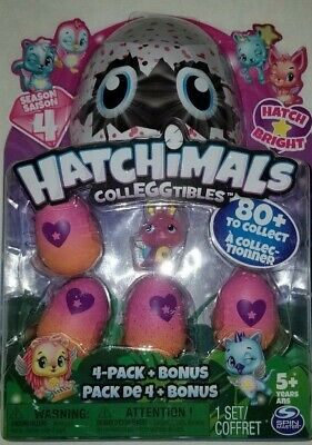Hatchimals CollEGGtibles Season 4 Hatch Bright 4-Pack + Season 4 Bonus Brand New