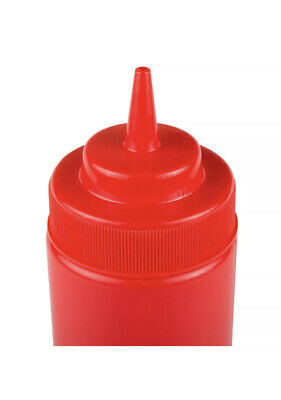 6-pack 16 Oz. Red Wide Mouth Round Plastic Ketchup Squeeze Bottles