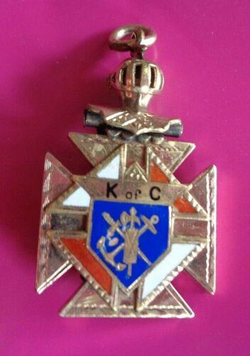 Antique 14 K Gold Plate Knights of Columbus K of C Skull Cross Watch Fob Pendant