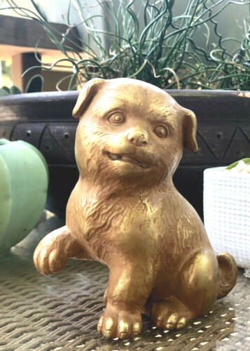 Japanese gilt Bronze Okimono Akita Playful Puppy dog statue ETCHED sculpture 5""