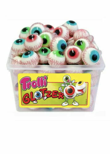 german Trolli Glotzer planet gummy Pop Eye Filled Eyeballs extra-sour filling