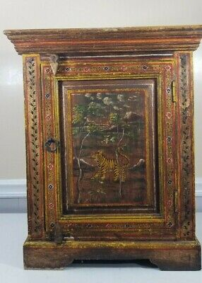 VIntage Hand painted Accent Cabinet (Tiger and scenery)