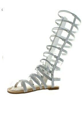 NWOB Stuart Weitzman Girls Carmia Spartahi Tall Gladiator Sandals Silver 4US