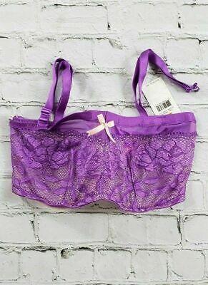 NEW Betsey Johnson Starlet Lace & Mesh Bandeau Purple Bra 725801 Womens SZ 32DD Betsey Johnson Lace Mesh Bra