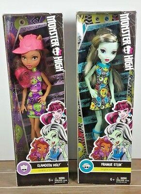 Monster High Frankie Stein & Clawdeen Wolf Dolls Figures Toys ~ 2016 Mattel