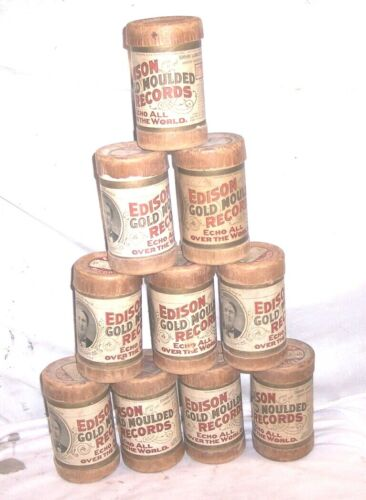 10 EDISON CYLINDER PHONOGRAPH CONTAINERS(NO RECORDS)