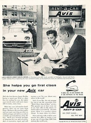 1958 Avis Rental Ford Evelyn Meyers   Vintage Advertisement Car Print Ad J483