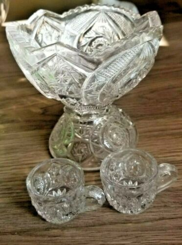 Childs Toy Punch Set Whirlgig US Glass  Bowl 2 Cups EAPG Antique
