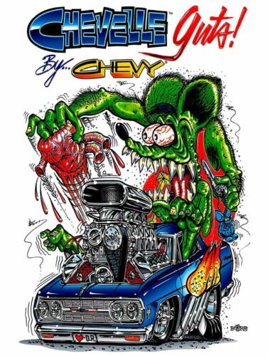 Rat Fink Chevelle, Big Daddy Ed Roth Metal Sign