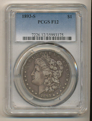 1893-S PCGS FINE 12 original Morgan Silver Dollar F12 KEY 1893 S