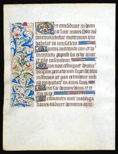 MEDIEVAL ILLUMINATED MANUSCRIPT  BOOK OF HOURS LEAF 1460, GOLD INITIALS