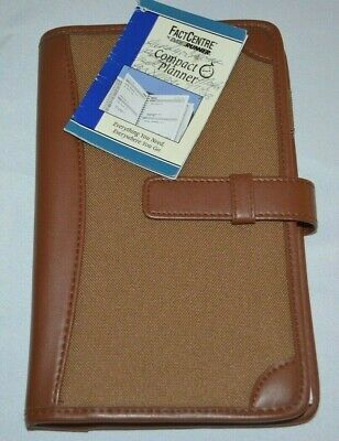Fact Centre By Day Runner Compact Non-dated Planner Brown Folio Organizer Vtg