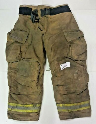 Globe Gxtreme 38x30 Brown Firefighter Bunter Turnout Pants w/ Yellow Tape P0159