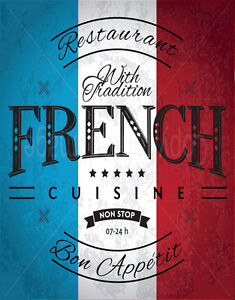 french cuisine large metal tin sign poster vintage style wall plaque ebay. Black Bedroom Furniture Sets. Home Design Ideas