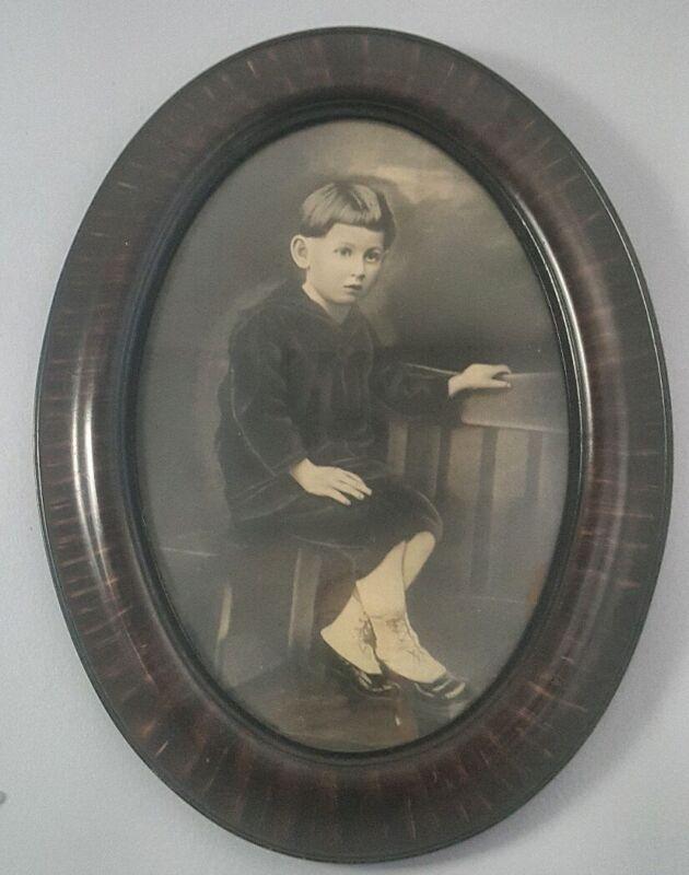 Large Antique Oval Frame Little Boy Portrait Victorian Decor