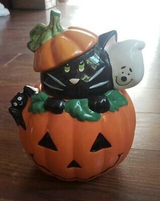 "Vtg David's Cookies Halloween Pumpkin Cookie Jar Black Cat Ghost 10.5""H x 8""W"