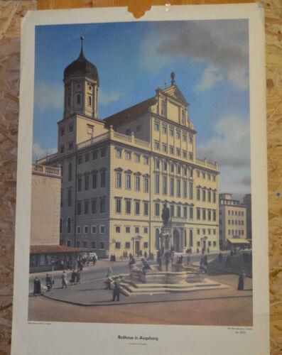 schönes Wandbild Rathaus Augsburg 300J. höchste Gebäude D 92x64cm ~1955 vintage