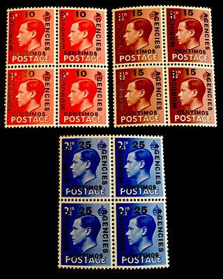Morocco Agencies King Edward VIII MINT x3 blocks of 4 MNH