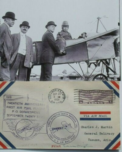 Earle Ovington 1st Official Air Mail Pilot 1911 Aviation Pioneer Signed Cover