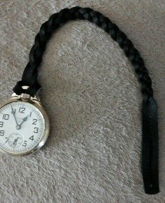 EXTRA HEAVY DUTY LEATHER POCKET WATCH STRAP, FOB, CHAIN. (black) Extra Heavy Chain