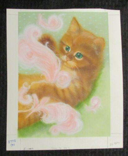 "HAPPY BIRTHDAY Beautiful Kitten Cat Pink Feathers 10x12"" Greeting Card Art #1003"