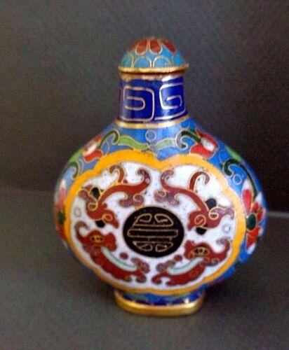 "Antique Chinese Cloisonne Snuff Bottle 3"" c.1800"