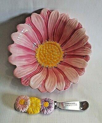 Chip & Dip Serving Bowl Floral Dish & Floral Handle Knife Set 2007 Harry & David - Chip Bowl