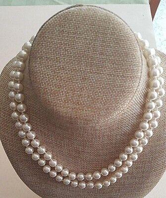 Pearl Pouch - Barbara Bush Style Faux Pearl Necklace Single Strand 28
