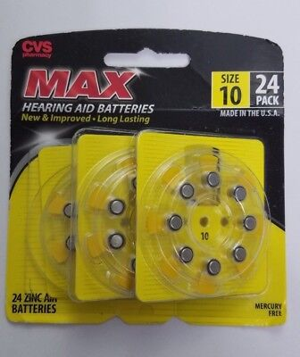 Hearing Aid Batteries Size 10 - 24 Pack CVS Brand Best By August
