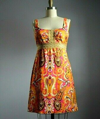 MILLY New York IMPORTED from ITALY COTTON PUCCIESQUE PRINT DRESS with GOLD LACE (Imported Dresses)