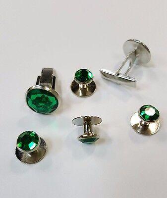 Emerald Stud Cufflinks - Cufflinks and Tuxedo Studs Silver Emerald Green New Set TUXXMAN