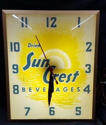 Vintage Drink Sun Crest Beverages Tall Rectangular Electrical Wall Clock