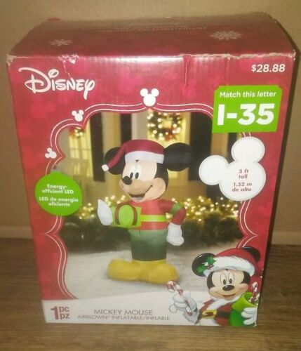 Christmas Mickey Mouse W Present 5' Lighted Inflatable Gemmy Disney Bnib