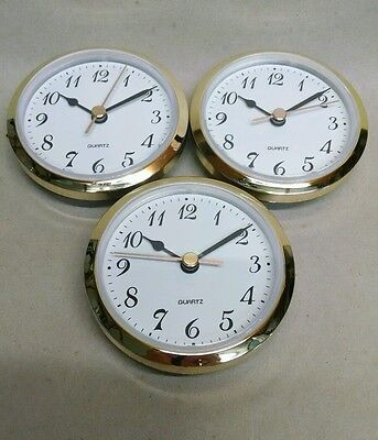 3-PACK CLOCK FIT UP PLAIN White Dial, Arabic numbers,Insert 3 1/2